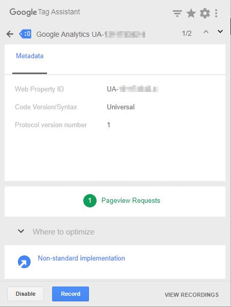 Google Tag Assistant hiển thị thẻ màu xanh nước biển