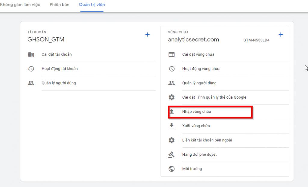 Nhập vùng chứa trong Google Tag Manager