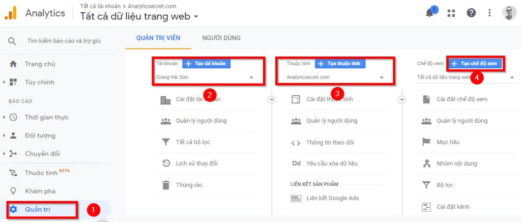Tạo chế độ xem mới trong Google Analytics