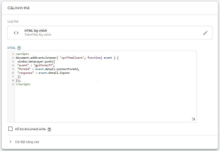 Custom HTML trong Google Tag Manager