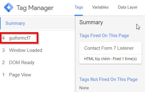 Sự kiện gửi form bằng contact form 7 đã được ghi nhận trong Google Tag Manager