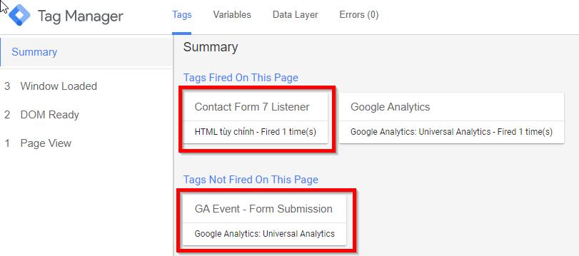 Thẻ tuỳ chỉnh Lắng nghe sự kiện Contact Form 7 đã được kích hoạt. Thẻ gửi sự kiện đến Google Analytics chưa được kích hoạt.