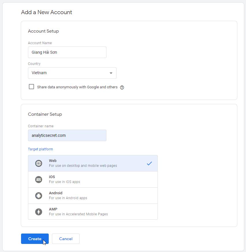 Tạo một tài khoản Google Tag Manager