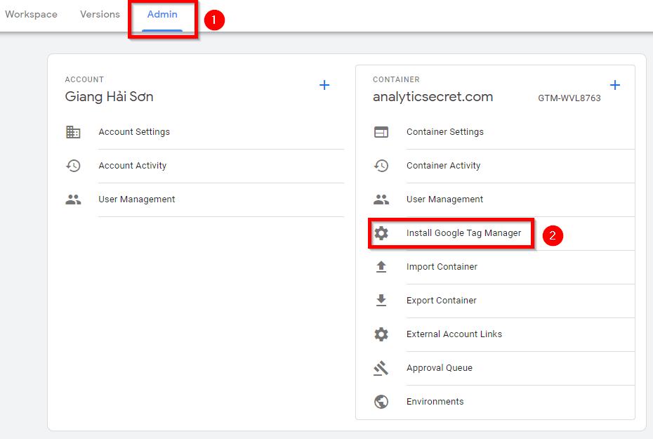 tìm lại đoạn code Google Tag Manager