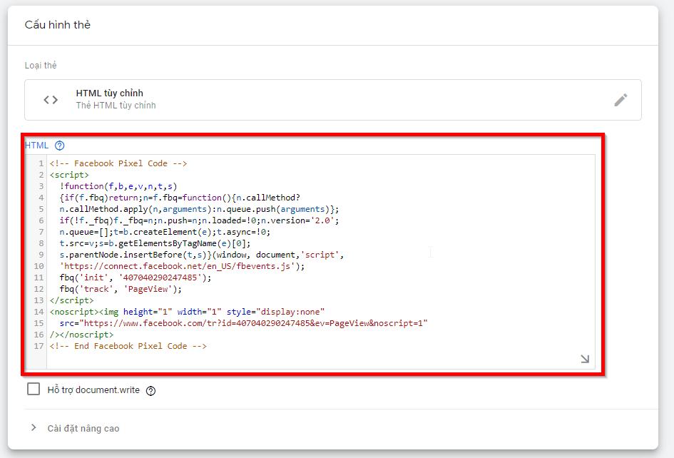 Cài đặt mã Facebook Pixel cho trang web